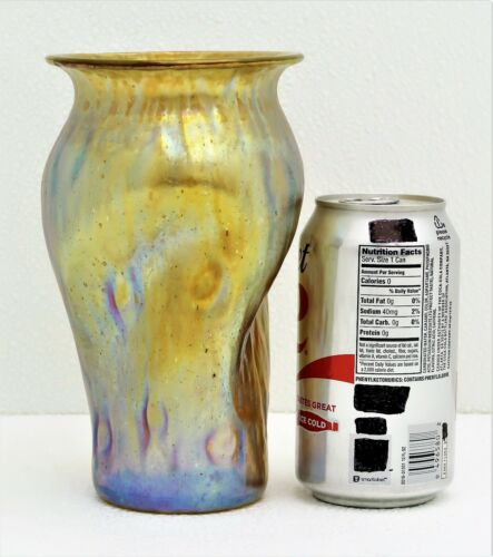 "Loetz Yellow Iridescent Bohemian Czech Vase with Flared Rim 7 1/8""h"