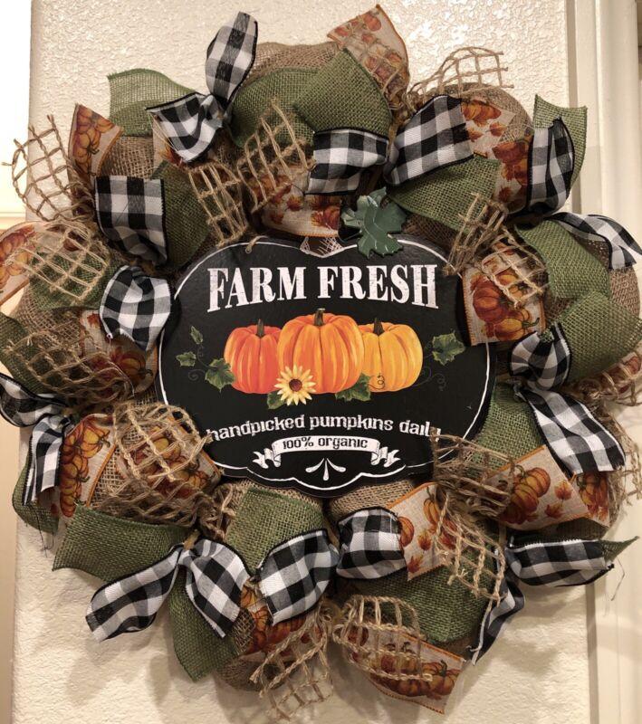 FARMHOUSE PUMPKIN 🎃 BURLAP Deco Mesh WREATH Fall HARVEST 24 X 24 BUFFALO CHECK