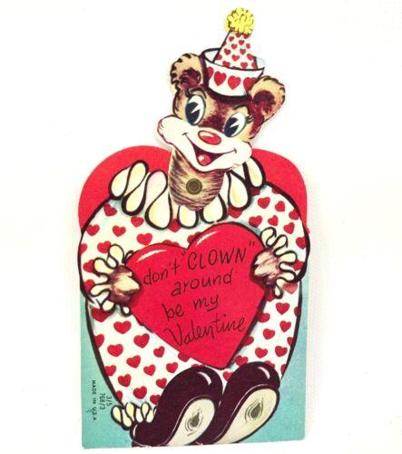 Mechanical Bear Clown Valentines Day Card Ephemera Holiday Greeting Vtg