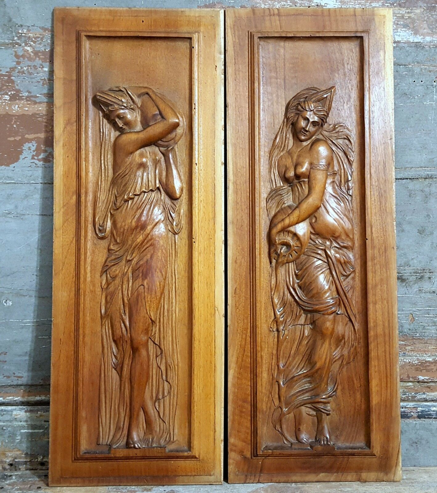 MATCHED PAIR CARVED WOOD PANEL ANTIQUE FRENCH WOMAN LADY SCULPTURE CARVING 19th