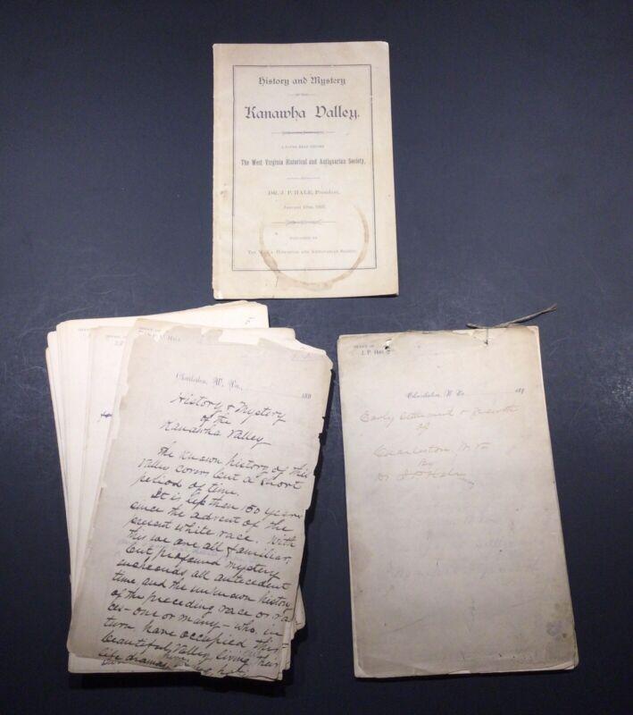 CHARLESTON KANAWHA CO. WV HISTORY, DR J P HALE HAND WRITTEN MANUSCRIPTS 1890S