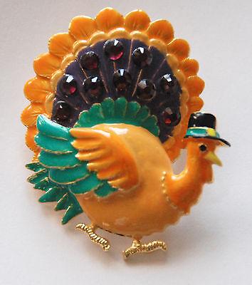 Thanksgiving Turkey w Pilgrim Hat Pin &/or Pendent / Orange - Purple & Green - Female Pilgrim Hat
