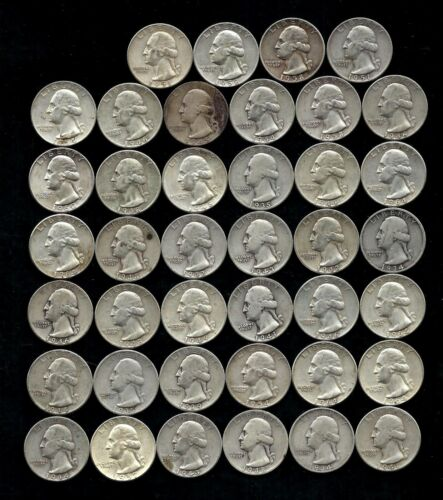 ONE ROLL OF WASHINGTON QUARTERS (1934-64)  90% Silver  (40 Coins)  LOT C44