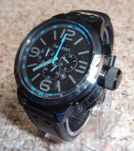 tw steel cool black and blue chronograph 50mm mens watch tw905 tw steel canteen chronograph black dial black leather strap mens watch tw905