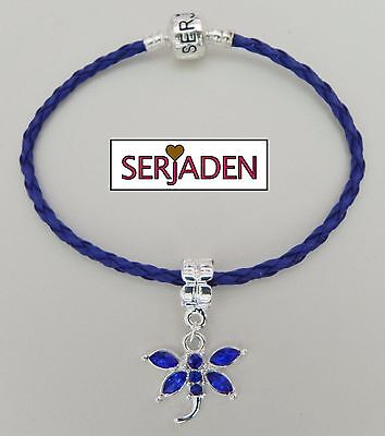 Royal Blue Dragonfly Braided Serjaden Bracelet / Anklet Sizes 6 to 11 1/2