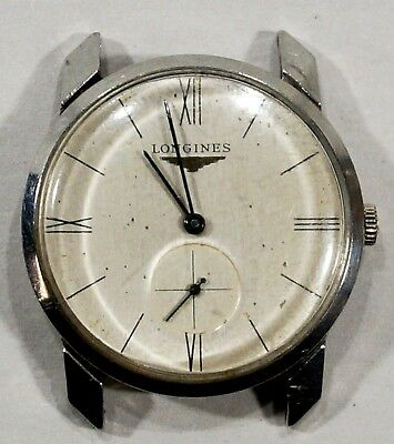 Vintage LONGINES Manual Wind Watch Second Sub-Dial Stainless Case Working