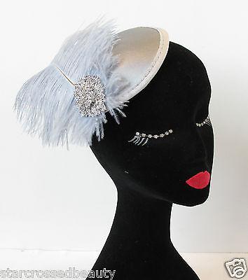 20er Kopf Stück (Silbergrau Straußen-feder Fascinator Kopfstück Haarspange Rennen Vintage 20er)