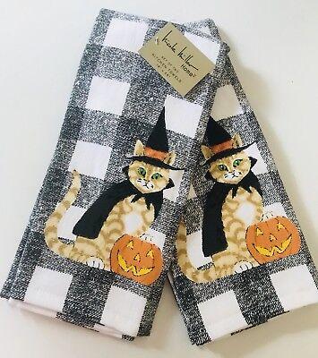 Set of 2 Cute Halloween Witch Cat kitchen tea towels cotton Fall Black Gingham](Halloween Tea Towels)