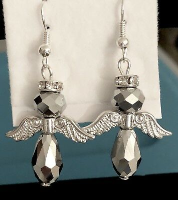 ANGEL EARRINGS~WITH A RHINESTONE HALO & BRIGHT SILVER WINGS & SILVER BODY](Angel With A Halo)