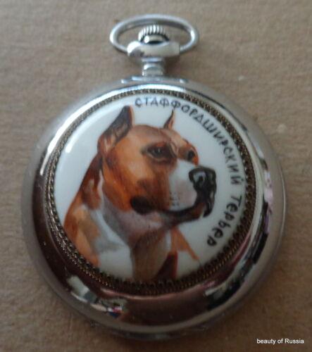Enameled handpainted RUSSIAN POCKET WATCH     DOG  Staffordshire Bull Terrier