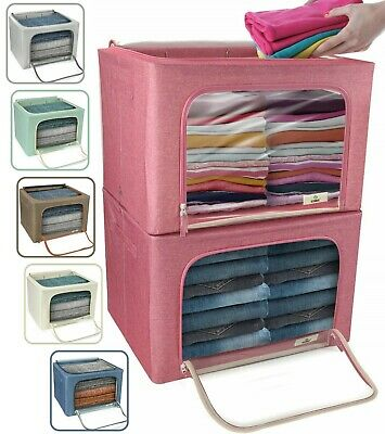 Large Storage Bag Box Foldable Stackable Organizer Bins for