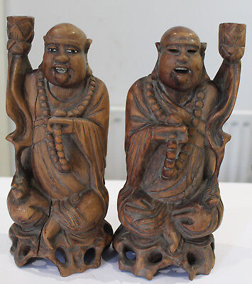 Pair of Chinese Asian Antique Wood Carvings of  Happy Buddha Hotei