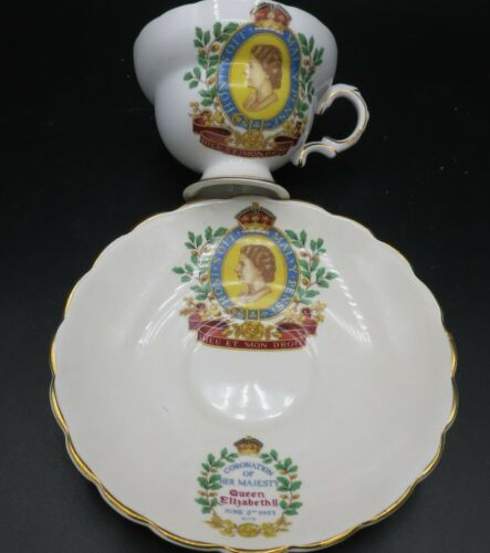 Rosina Bone China Coronation of Queen Elizabeth Cup & Saucer, June 2, 1953 MINT!