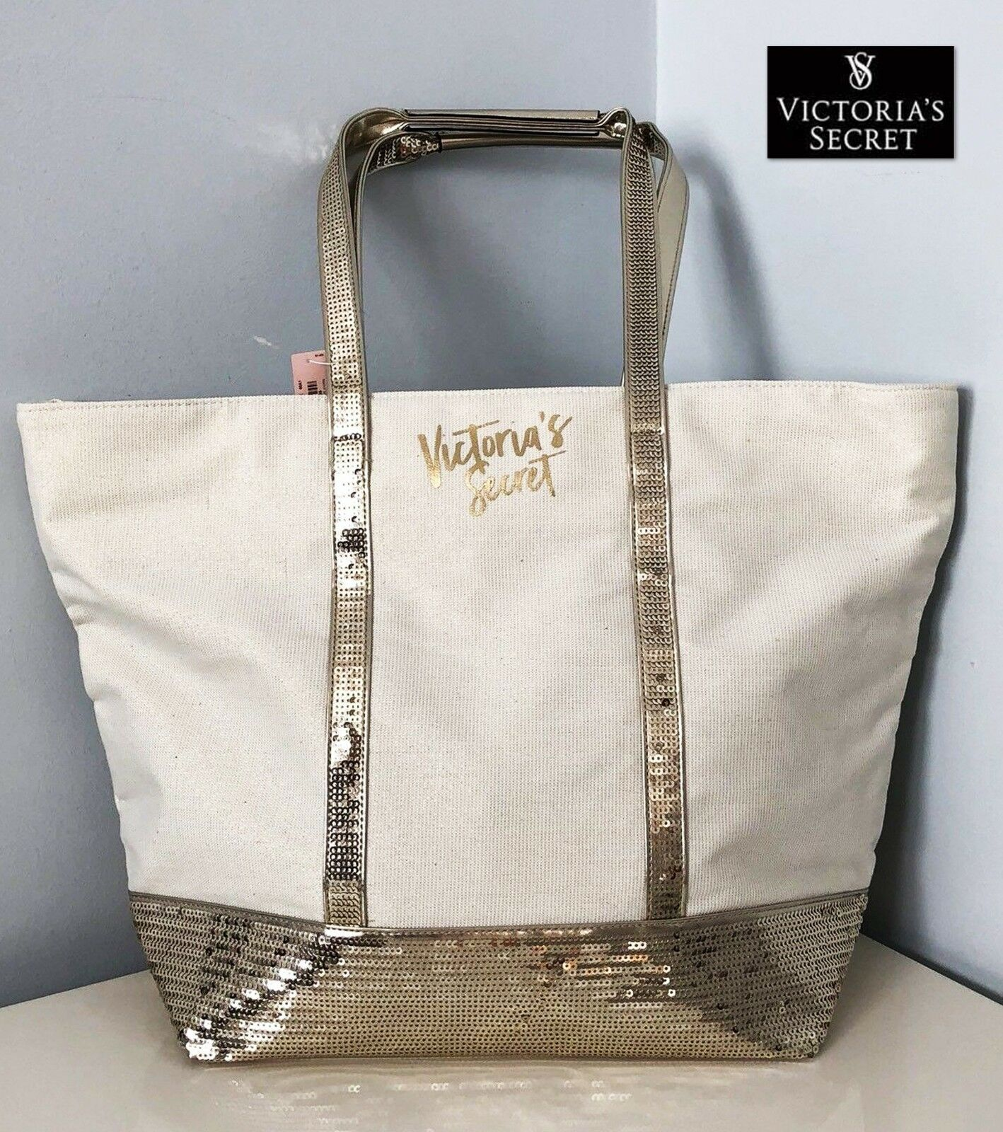Details about NWT Victoria's Secret Tote Bag Cream Gold Sparkle Sequin Bling Great