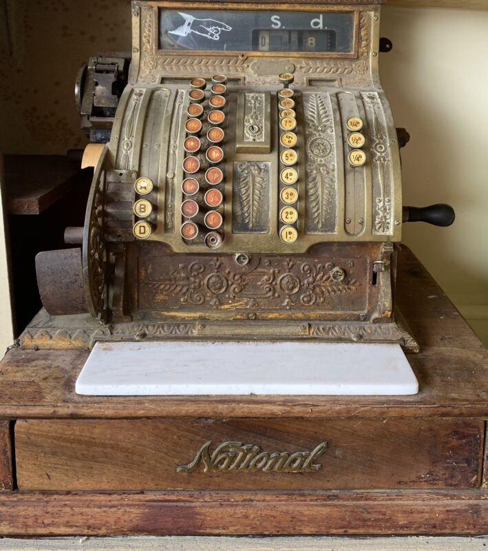 Antique Vintage Brass National Cash Register 417X