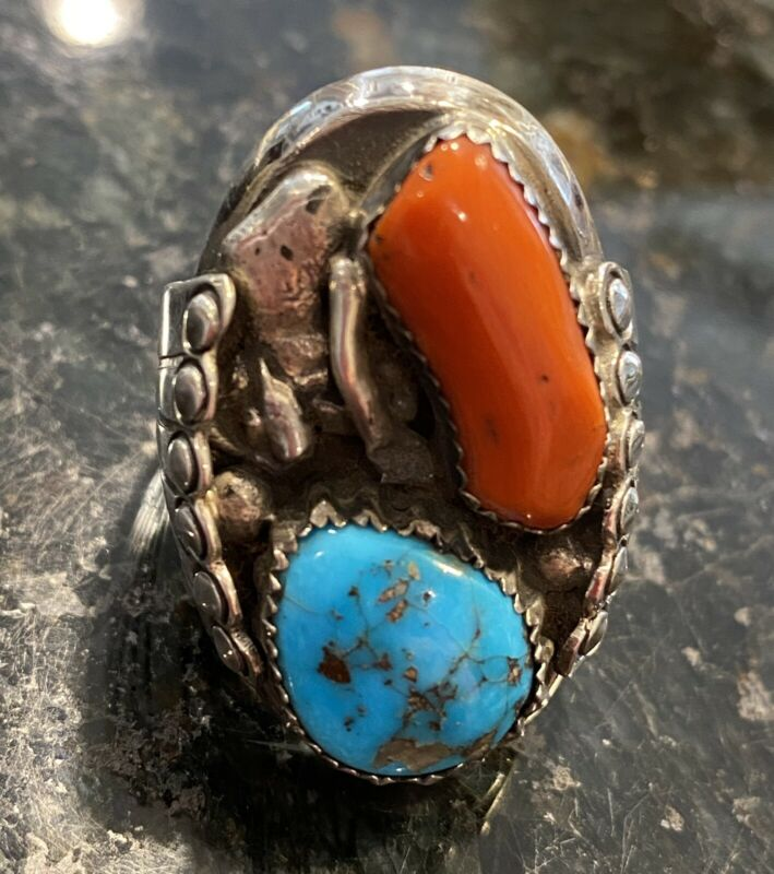 Southwest Native Vintage Silver Turquoise Branch Coral Ring 25.4g Sz 9.5