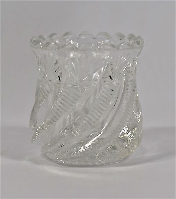 """Victorian Bryce Higbee & Co. Swirl & Panel Clear Antique 2.25"""" Toothpick Holder"""