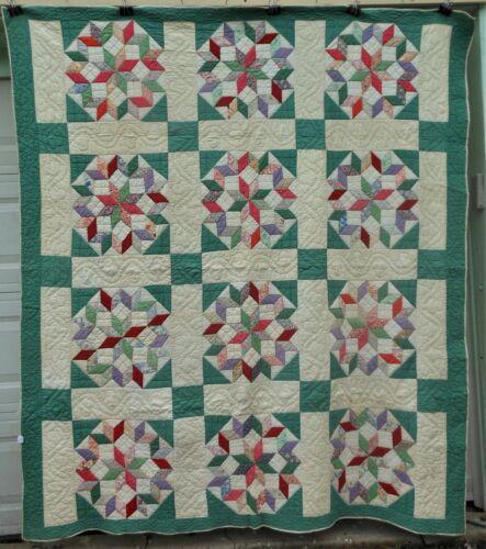 Unusual Antique Vintage Multi Star Patchwork Quilt, Hand stitched