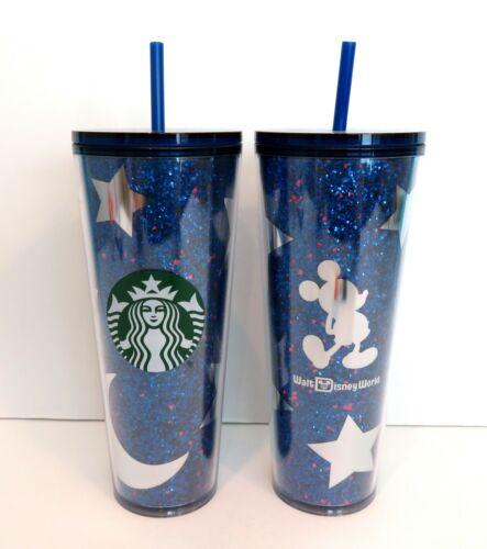Starbucks Mickey Mouse Tumbler Straw Walt Disney World Wishes Come True Blue NEW