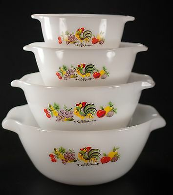 Vtg Fire King Chanticleer Nesting Bowls Set of 4 Anchor Hocking
