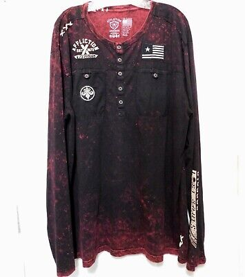 Affliction Henley Shirt Mens 3X Red Embroidery Patches Flag Skull Long Sleeve