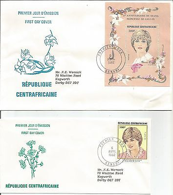 Central African Republic 1982 Birthday HRH Princess Diana Wales MS FDC Cover x 2