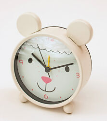 Cute Lamb Face White Alarm Clock with Ears 4x2x4.5 inches