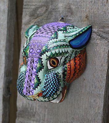 #4 Alebrijes Jaguar Head Hand Carved & Painted Wood Oaxaca Mexico Folk Art