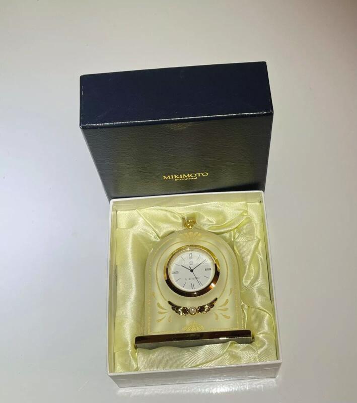 MIKIMOTO International (with tiny pearl) Time Piece Desk Clock