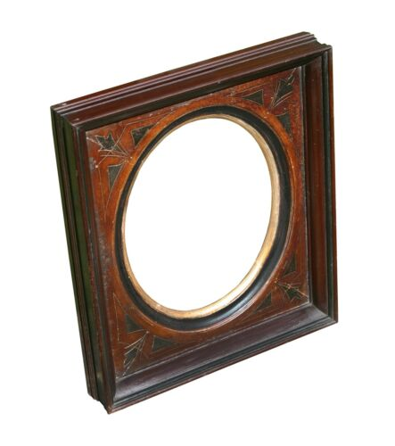 Antique Victorian Walnut Picture Frame, with Oval Opening