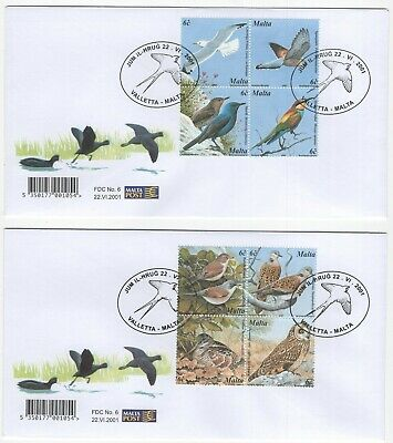 MALTA  2001  Birds  4 Unaddressed First Day Covers  Ref:3628