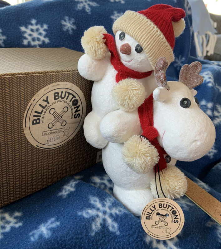 Department 56 BILLY BUTTONS- SNOWMAN MOOSE PIggyback  New Knitted Accessory