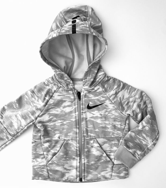 Baby Boy Nike Gray White Camouflage Zip Hoodie Size 2T
