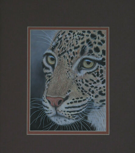 Leopard cat Original Pastel Painting Art