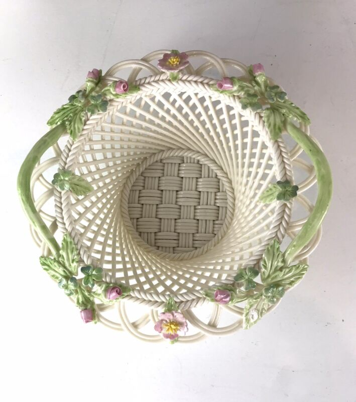 Irish Belleek Elegant Hand Crafted Floral  Woven Porcelain Parian Basket W/box