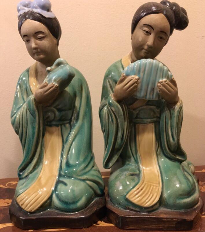 Antique orientalism Geisha Girl Bookends Figurines European Porcelain Mud face
