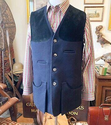 Holland & Holland Men's Blue Wool Shooting Vest, Size M