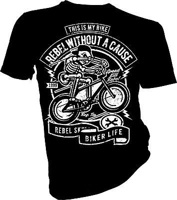 Skeleton Rebel, Bicycle, BMX, Mountain Bike, Skull, Biker Unisex & Kids (Bmx Kids T-shirt)