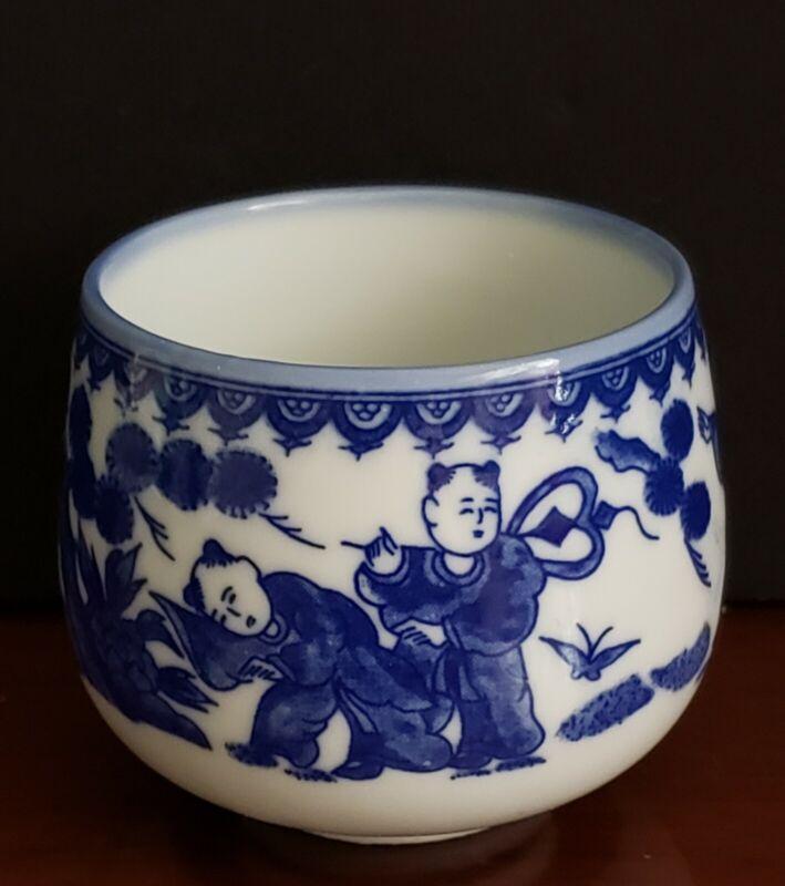 Vintage Blue & White Japan Porcelain Boys Floral Butterflies Tea Sake Cup-EUC