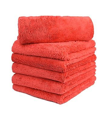"6pcs Microfiber Towel Edgeless Scratch Free Cleaning Clothes 16""x16"" Red"