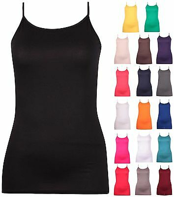 eveless Ladies Stretch Strappy Vest Long Tunic T-Shirt Top (Plus Size Womens)