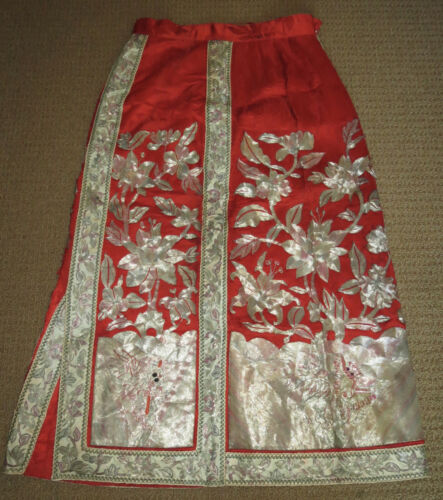Antique Chinese Wedding Skirt Silver Embroidery Bats Lotus