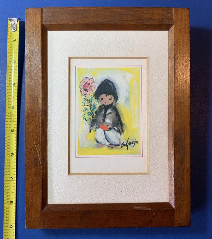 "Vintage 1970s Ettore De Grazia Framed 3x4.5"" Card Wandas Little Boy"