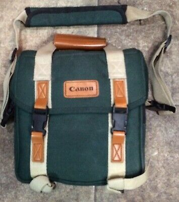 VINTAGE CANON CAMERA BAG GREEN & TAN CANVAS WITH SHOULDER STRAP