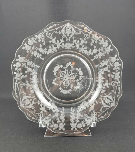 Cambridge Glass Diane-etched crystal 7.5 inch salad plate