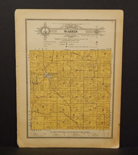 Wisconsin Waushara County Map Warren Township 1914 W10#13