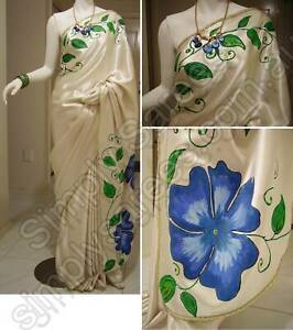 ** UNIQUE ** One-of-a-kind Hand Painted Satin Saree #HP 001