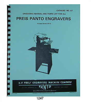 Preis Panto Engravers Operating And Parts List Manual For All Models 1247