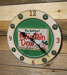 Mountain Dew Vintage-Style Soda Wall Clock Lg 9 Round Silent Motor Sweep Hand