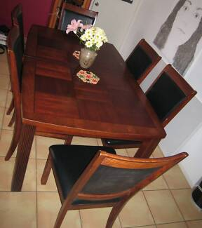 dark timber extendable dining table & chairs 9 piece setting